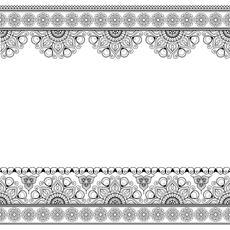 Mehndi line lace borders with circles pattern in Indian style for card or tattoo Ilustração