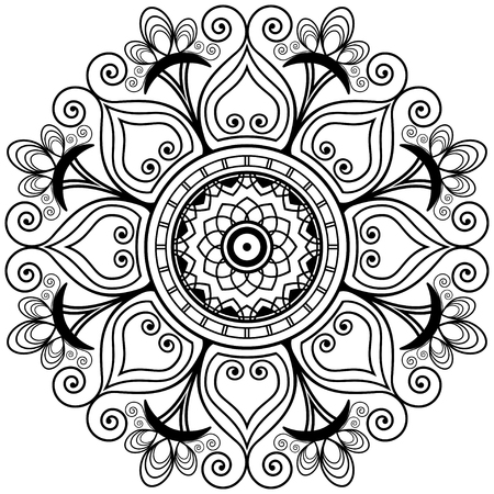 henna tattoo mandala in mehndi style. Decorative coloring book tracery. Floral wedding decorative element isolated.