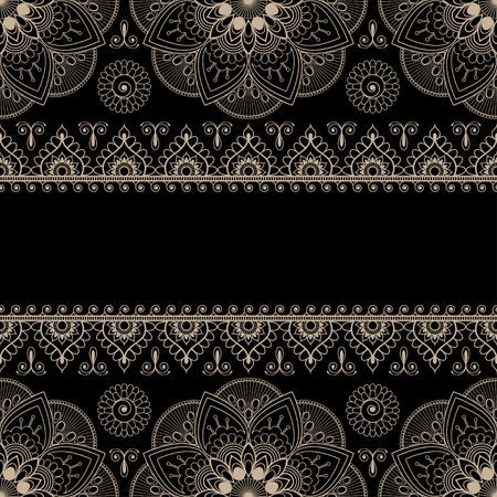 Border beige pattern elements with flowers and lace lines in Indian mehndi style for cards or tattoo. Vector illustration isolated on black background.