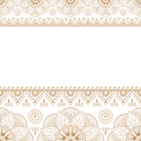 Indian Mehndi Henna Beige Brown line lace element with circles pattern card for tattoo. Vector illustration isolated on white background