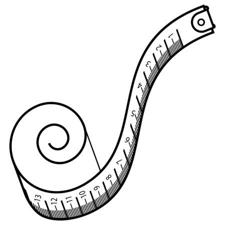 Nähband, Maßband, Maßband. Schwarzes Umrisslogo für Website-Design und mobile Apps. Vektorillustration auf weißem Hintergrund.