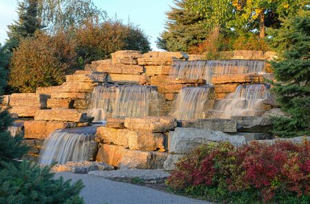 Beautiful waterfall in the park, Toronto, Canada