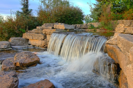 Beautiful waterfall in the park, Toronto, Canada