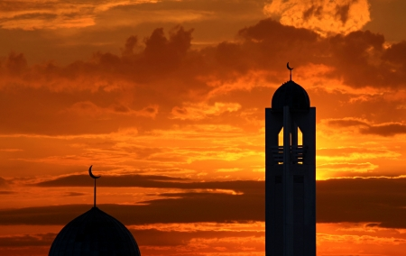 Silhouette of a mosque in sunset in Toronto