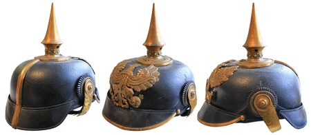 spiked: WWI LEATHER GERMAN SPIKED PRUSSIAN HELMET