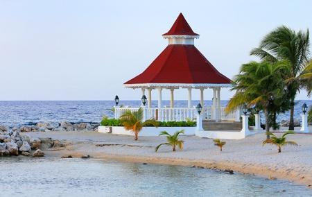 View of gazebo on the beach for weddings, Jamaica