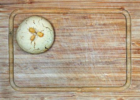 homemade fresh tahini cookie on cutting board Stock Photo