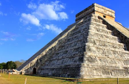 Mayan pyramid over blue sky at equinox day Chichen Itza Mexico