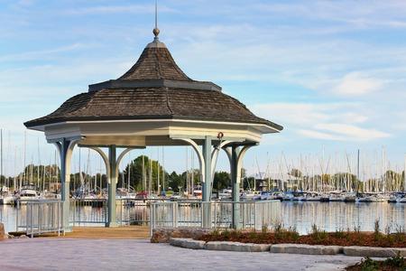 Gazebo view at the marina, Lake Ontario, Toronto.