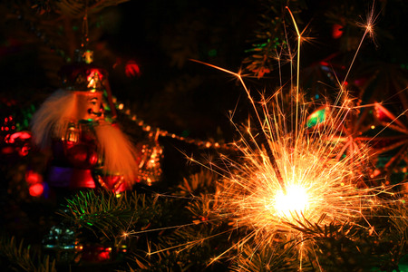 Christmas tree decorations and sparkler