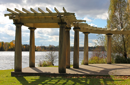 seneca: Scenic view of old shaded arbor over Seneca lake.