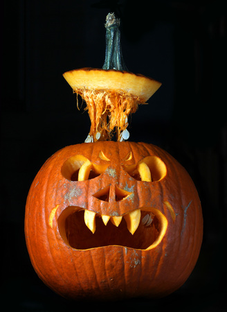 Scary Halloween pumpkin isolated on black background Jack O Lantern Stock Photo