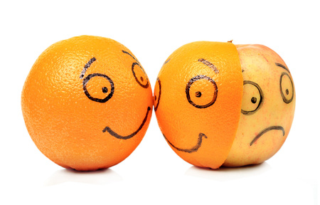 Apple and Orange emotions on white background
