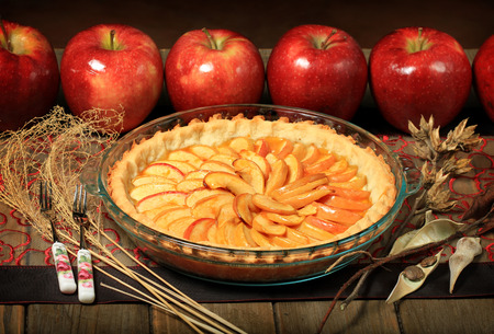 apple pie with red apples Stock Photo