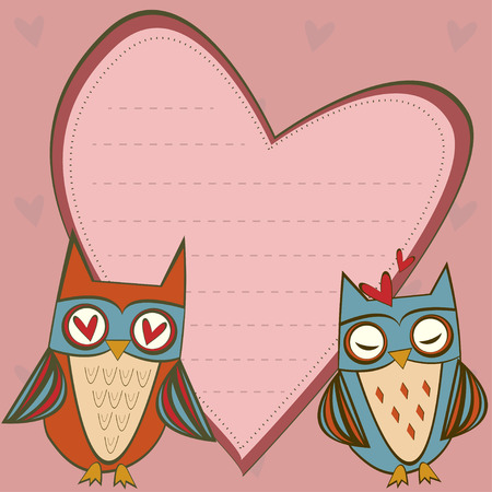 space for writing: Illustration of love card with cute owls. Postcard with space for writing.