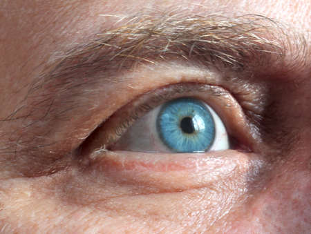 close up eyes: mens blue eye  Stock Photo