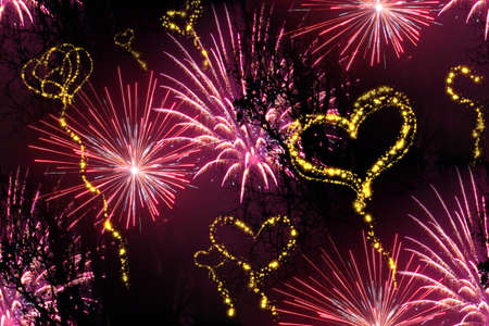 heart fireworks background photo
