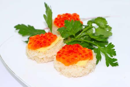 faced: canape food  caviar snack Stock Photo