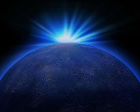 star sunset planet illustration Stock Photo
