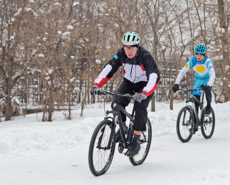 cycling in winter photo