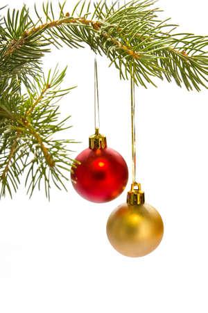 Albero di Natale con le palle rosse Archivio Fotografico