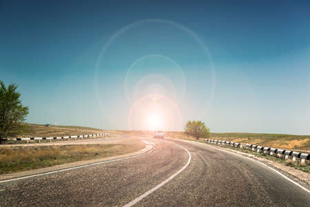 scheidingslijnen: weg scheidslijn Stockfoto