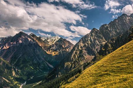 nature landscape rocky mountains  Central Asia photo
