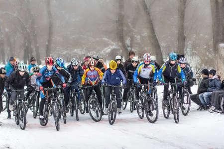 cyclist bicyclist winter cycling    Editorial
