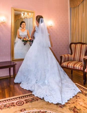 asian bride: asian bride in front of mirror