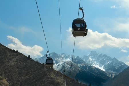 cable car mountain  landscape Central Asia Kazakhstan Stock Photo