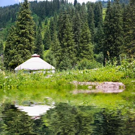landscape nomadic yurt  kazakhstan Stock Photo