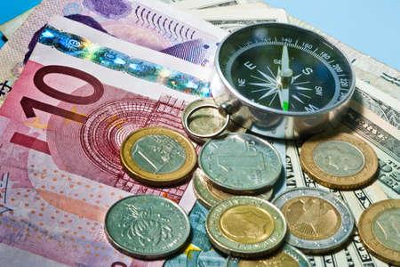 cash money concept  compass