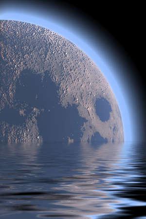natural phenomenon: planet space  sea illustration Stock Photo