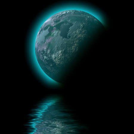 planet space  sea illustration Stock Photo