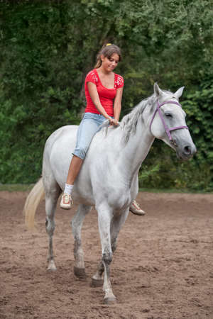 bareback horsewoman Stock Photo