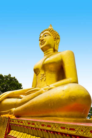 Golden Buddha statue of  Big Buddha on blue sky, Pattaya Thailand