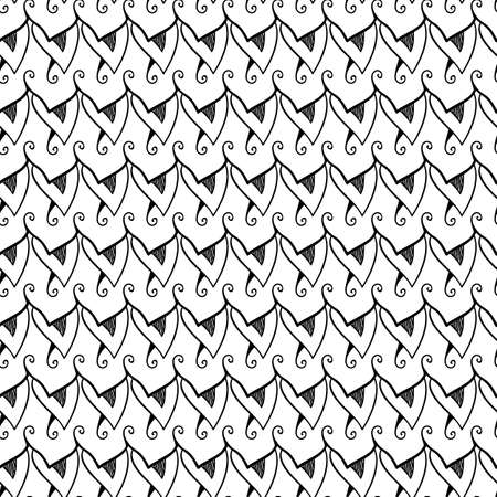 Abstract seamless black and white pattern  Plumage  Vector