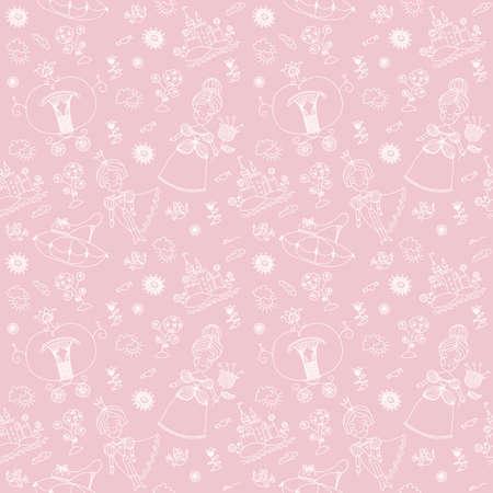 Seamless pink pattern  Cinderella   Vector