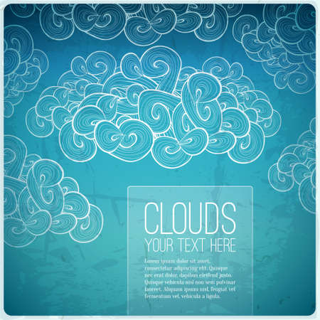 Abstract vector vintage banner. Blue sky background with label. Vector