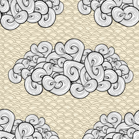 Abstract seamless background with clouds. Vintage texture design.  Vector