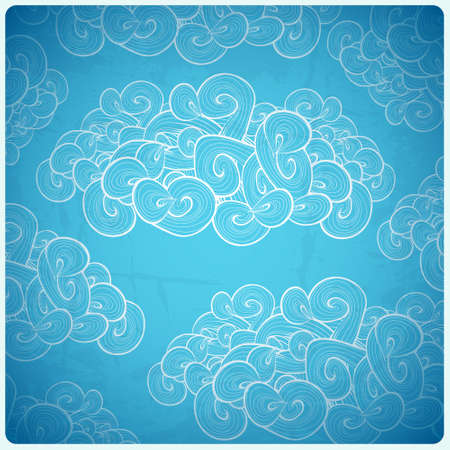 ร   ร   ร   ร  ร ยข  white clouds: Abstract vector background. White clouds on blue background.