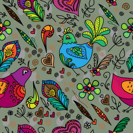 Seamless flower pattern with bird and hearts. Vector background.  Vector