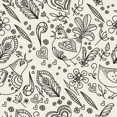 ethno: Vintage floral seamless pattern. Retro floral background.  Illustration