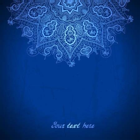 Vector plantilla de diseño. Ornamento blanco del círculo sobre fondo azul.