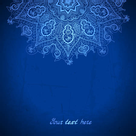 Vector design template. White circle ornament on blue background.