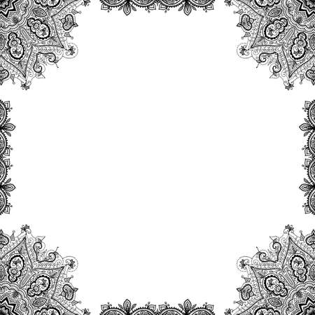 Vector hand drawn black ornamental decorative frame.  Vector