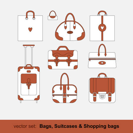 Set of vector images of bags, shopping bags, suitcases isolated on white background. Vector