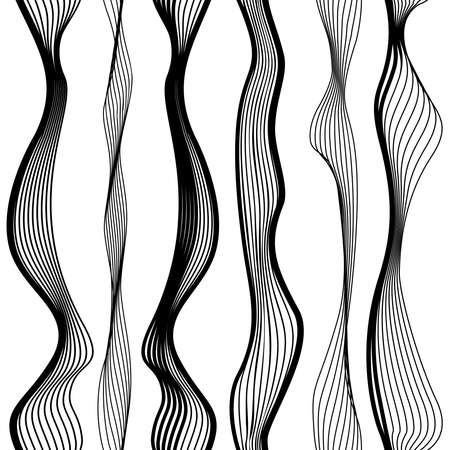 Abstract vector seamless black and white pattern with waves, urban theme design element. Vettoriali