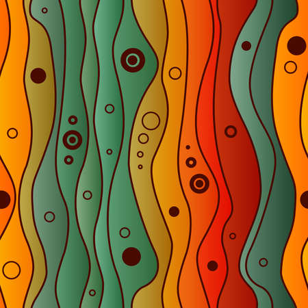 Abstract vector seamless colorful pattern with waves and circles, urban theme design element.