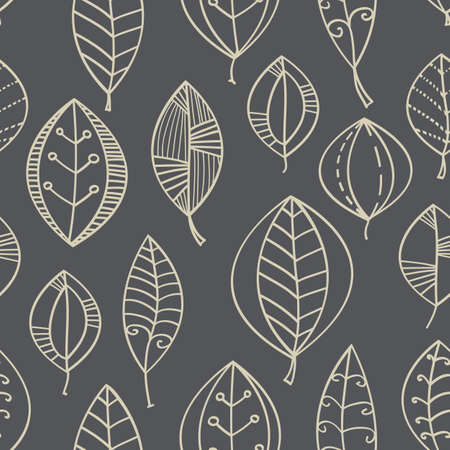 Vector abstract seamless background with leaf in beige and gray. Illustration